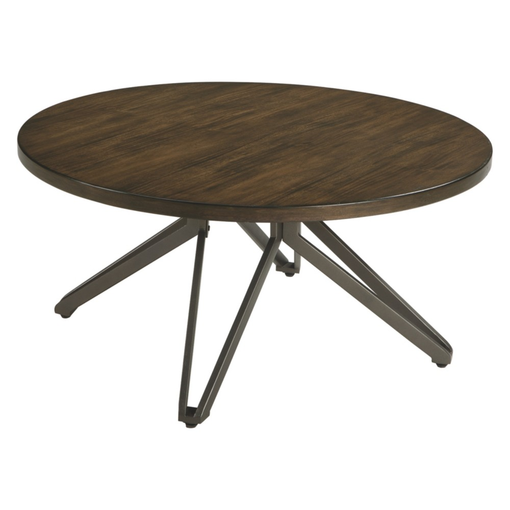 Tavonni Round Cocktail Table Brown/Black - Signature Design by Ashley