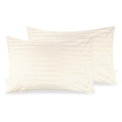 500 Thread Count Cotton Stripe Pillowcase Pair - Sateen Damask Weave Pillowcases, Silky Soft Light Sheen Set - California Design Den