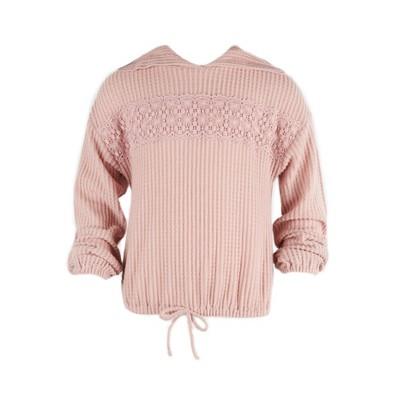 Beautees Girls' Lace Trim Long Sleeve Hoodie