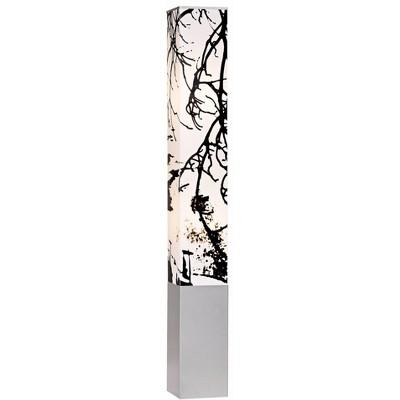 Possini Euro Design Asian Floor Lamp Gray Metal Tower Base Autumn Branch Shade Design for Living Room Bedroom