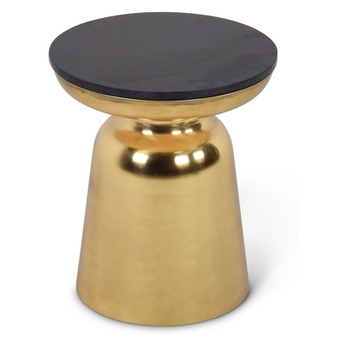 Jovana Round End Table Brass and Granite - Steve Silver - image 1 of 1