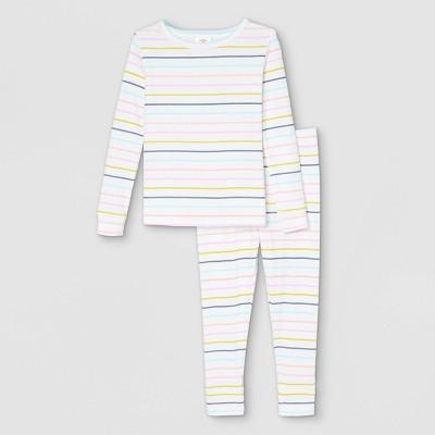 Toddler Pastel Striped 100% Cotton Tight Fit Matching Family Pajama Set - Cream