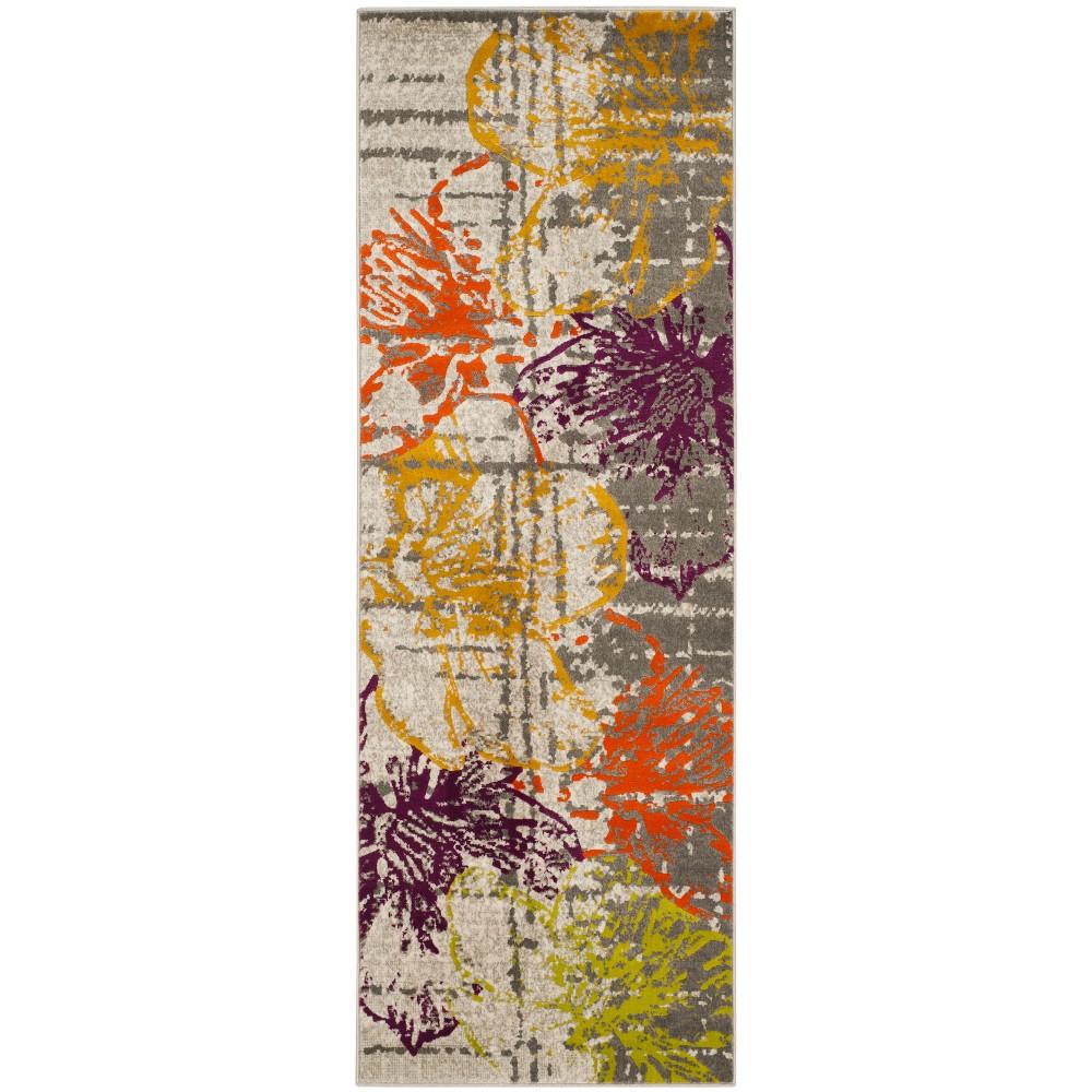 2 4 X11 Floral Loomed Runner Rug Ivory Gray Safavieh