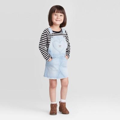OshKosh B'gosh Toddler Girls' Heart Pocket Skirtall - Light Blue 3T