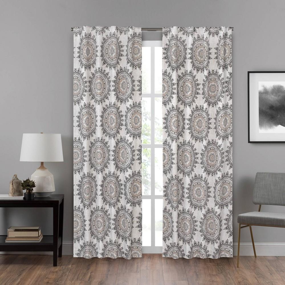 84x40 Summit Medallion Draft Stopper Room Darkening Window Curtain Panel Beige - Eclipse