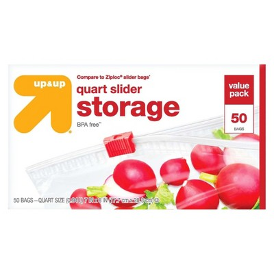 Slider Quart Storage Bags - 50ct - Up&Up™ (Compare to Ziploc® Slider Bags)