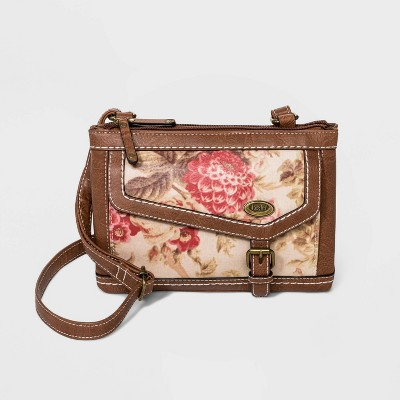 Bolo Floral Print Zip Closure Crossbody Bag - Brown