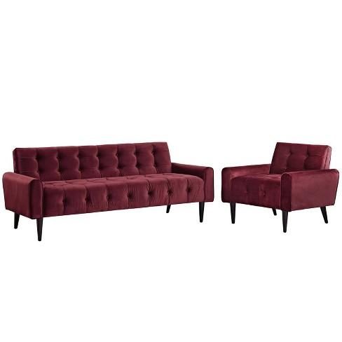 Living Room Set Velvet Maroon Modway