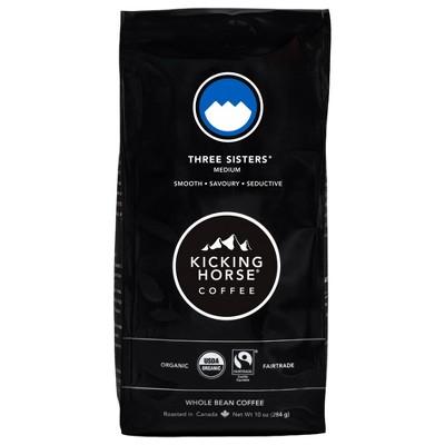 Kicking Horse Coffee Three Sisters Medium Roast Fair Trade Certified Organic Whole Bean Coffee - 10oz