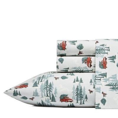 Queen Printed Pattern Flannel Sheet Set Tree Farm - Eddie Bauer