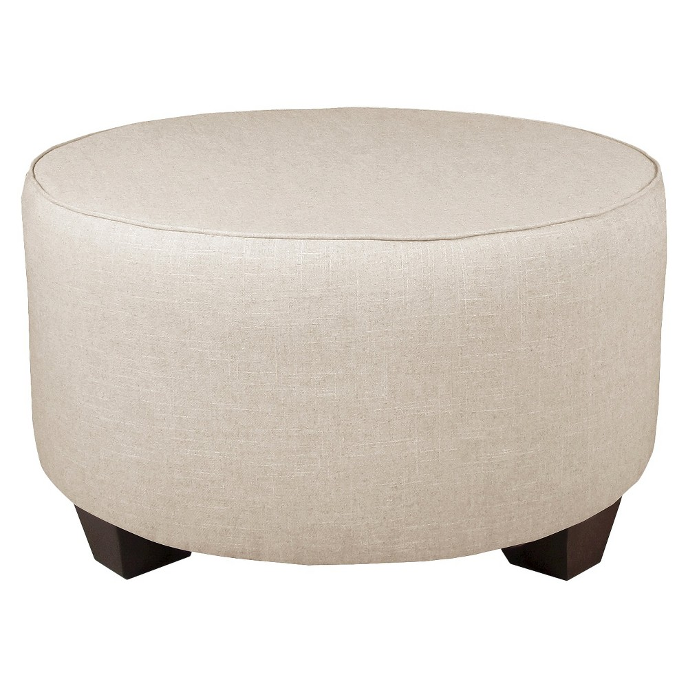 Skyline Custom Upholstered Round Cocktail Ottoman - Skyline Furniture, Linen Talc