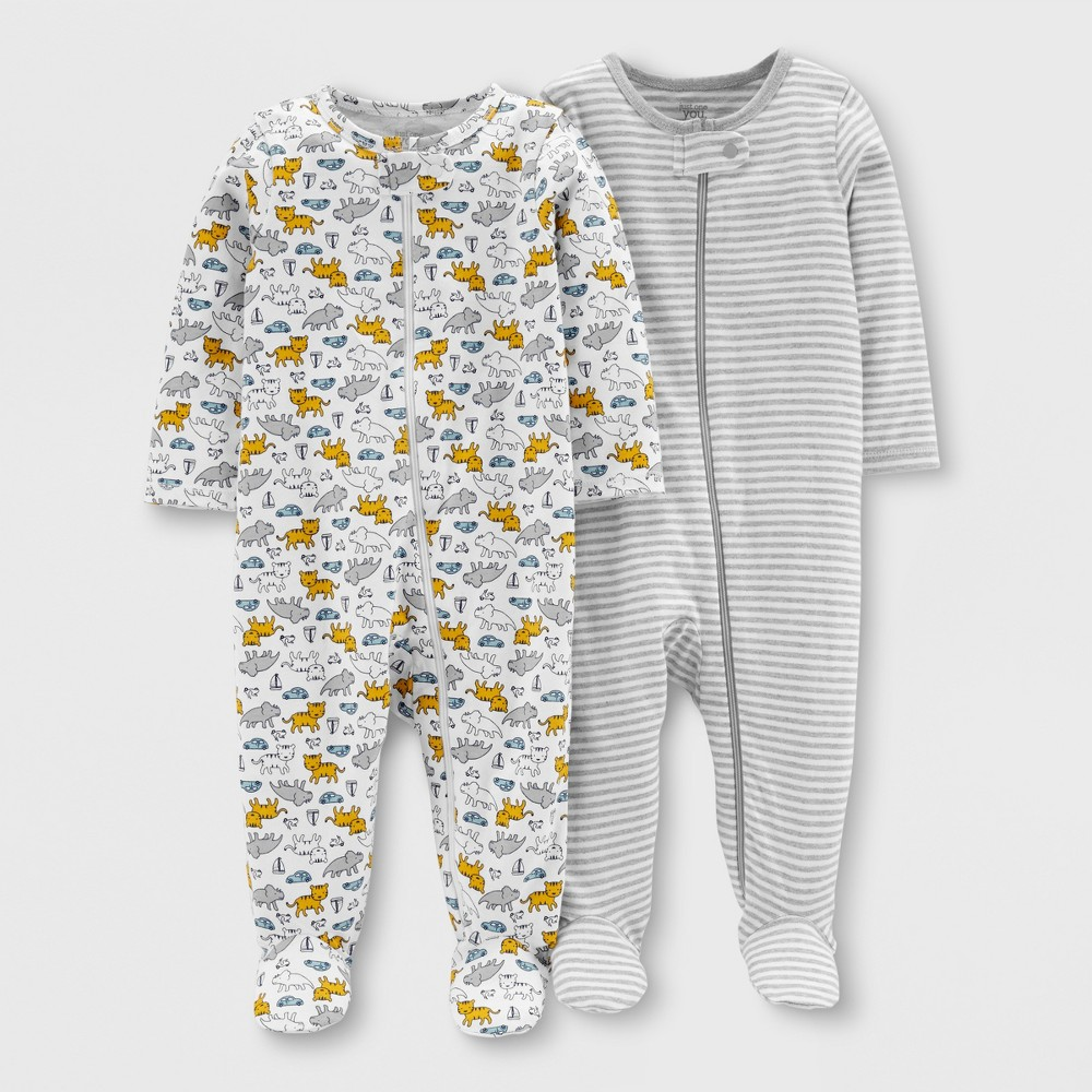 Baby Boys' 2pk Footed Sleepers - Just One You made by carter's Gray/White 9M, Yellow