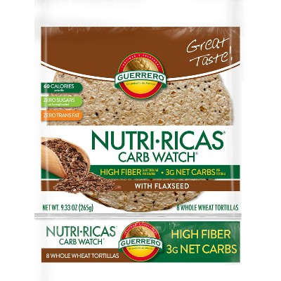 Guerrero Nutri-Ricas Carb Watch Flaxseed Whole Wheat Tortillas - 8ct