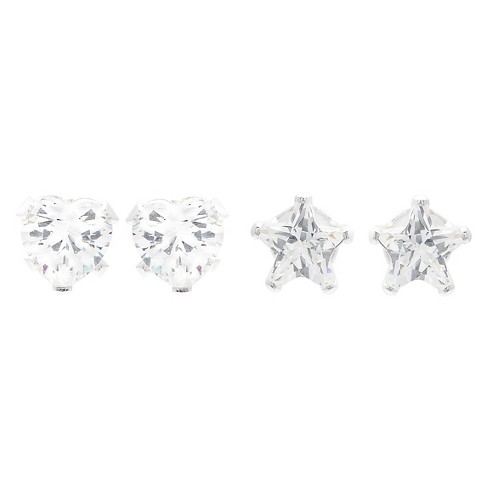 f9a37485129b4 1 2/5 CT. T.W. Star-cut CZ Prong Set Stud Earrings Set in Sterling Silver -  White/White