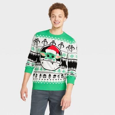 Men's Star wars The Child Pullover Sweater - Green/Black/White