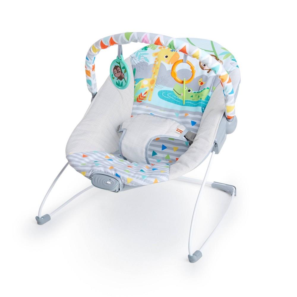 Bright Starts Safari Vibrating Baby Bouncer Gray