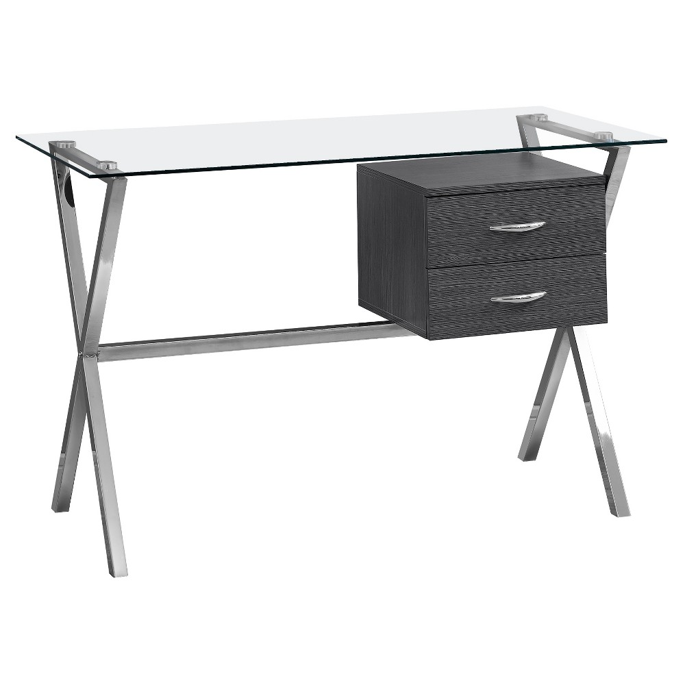 Image of Computer Desk with Tempered Glass Gray- EveryRoom