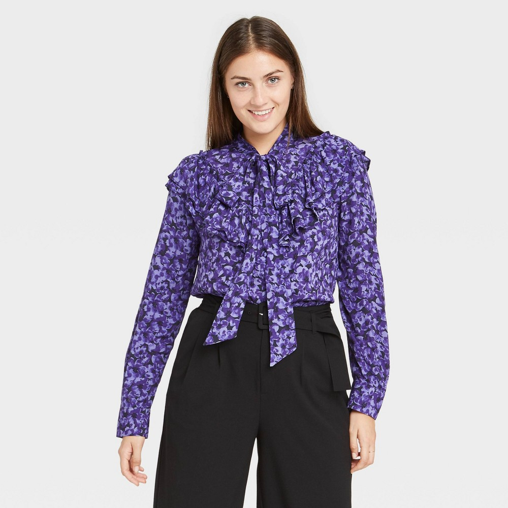 Women 39 S Floral Print Ruffle Long Sleeve Dramatic Blouse A New Day 8482 Dark Purple Xl