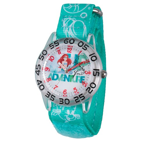 Girls' Disney Princess Ariel Clear Plastic Time Teacher Watch - Green - image 1 of 2