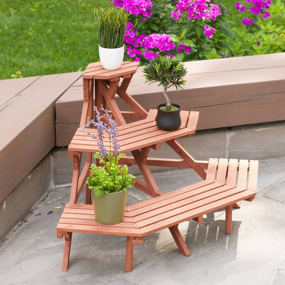 Image of 24 H Novelty Wood Planter Stands and Holders - Brown - Leisure Season