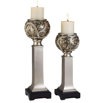 Ok Lighting Silver Vine Candleholder Set