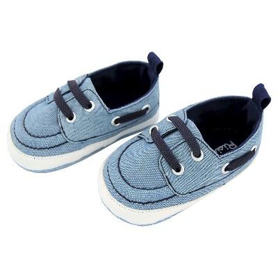 Baby Boys' Rising Star Chambray Boat Shoe Crib Shoes - Blue 3-6M