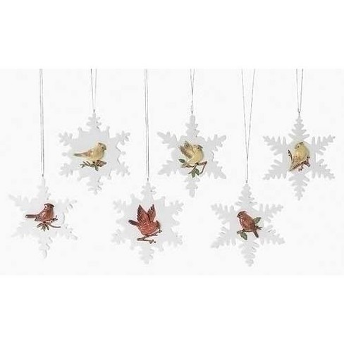 "Roman 12ct Cardinal on Snowflake Christmas Ornament Set 4"" - White/Red - image 1 of 1"