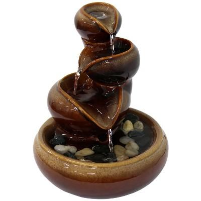 "10""H Ceramic Tiered Vessels Indoor Tabletop Water Fountain - Sunnydaze Decor"