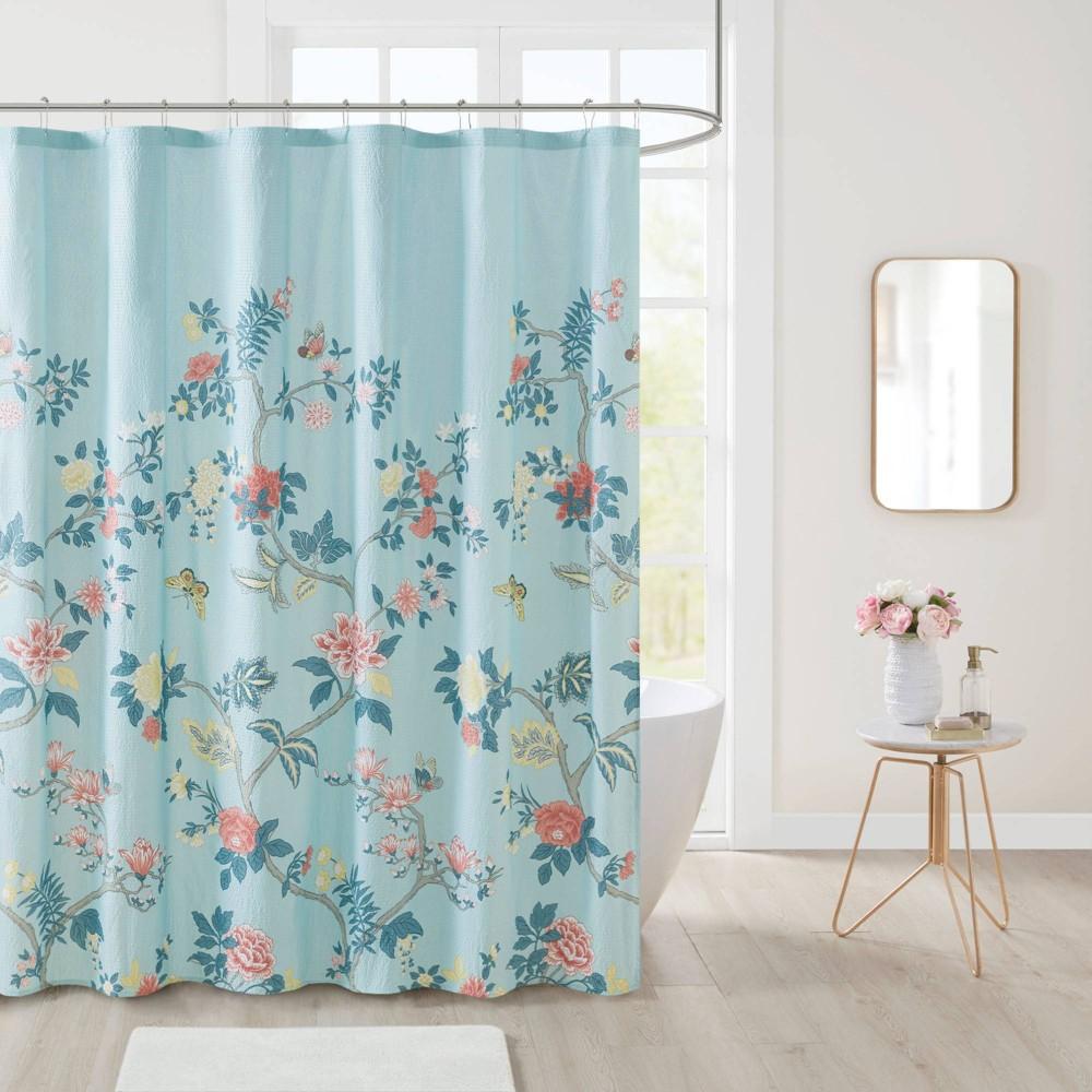 Image of Aisley Garden Printed Seersucker Shower Curtain Blue