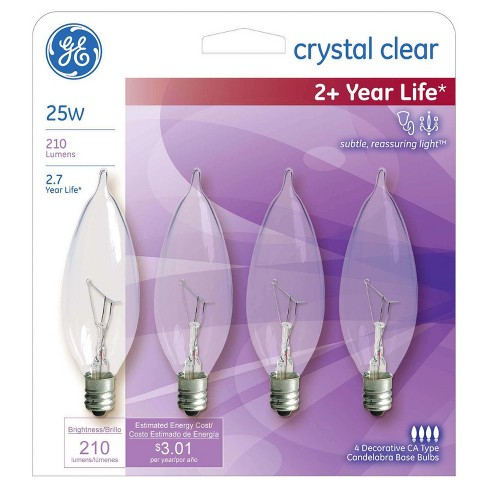 GE 25-Watt CAC Long Life Incandescent Chandelier Light Bulb (4-Pack) - Soft White - image 1 of 2