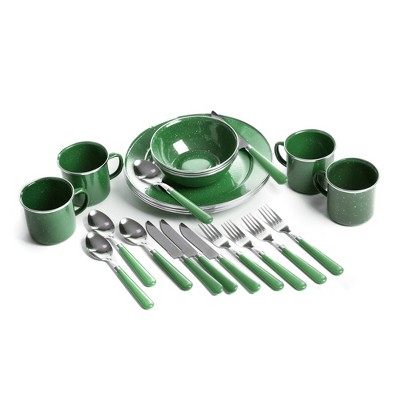 Stansport Enamel Camping Tableware Set 24 Pieces Green