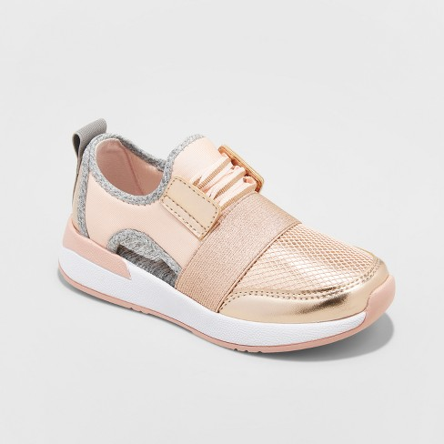 Girls' Encore Metallic Cutout Jogger Sneakers - Stevies Rose Gold - image 1 of 3