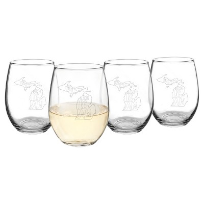 Cathy's Concepts My State Stemless Wine Glasses 21oz - Set of 4 - Michigan
