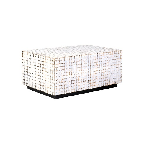 Dellwood Coconut Shell Inlay Coffee Table White - East At Main - image 1 of 7