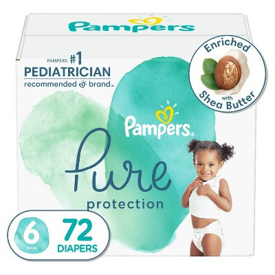 Pampers Pure Protection Disposable Diapers Enormous Pack Size 6 - 72ct