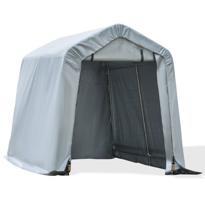 Outsunny 8'x6' Outdoor Storage Shelter with Rollup & Zipper Door Heavy Duty Carport Shed for Motorcycle Garden Storage-Grey