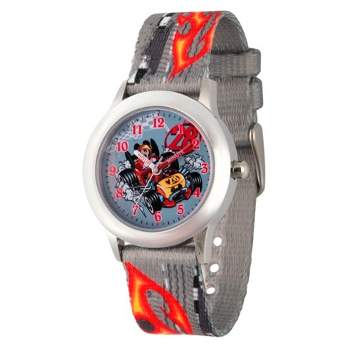 Boys' Disney Mickey Mouse Stainless Steel Time Teacher Watch - Gray - image 1 of 1