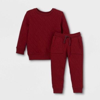Toddler Boys' 2pc Quilted Fleece Pullover and Pull-On Knit Jogger Pants Set - Cat & Jack™