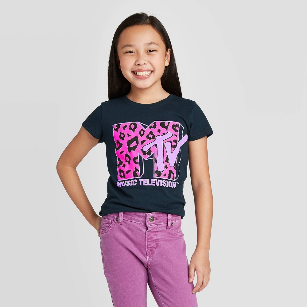 Image of Girls' MTV Leopard T-Shirt - Deep Navy, Girl's, Size: Large, Blue