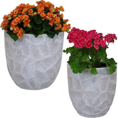"2pc Homestead Fiber Clay Planter Set - 12"" and 15"" - Light Gray - Sunnydaze Decor - image 1 of 4"