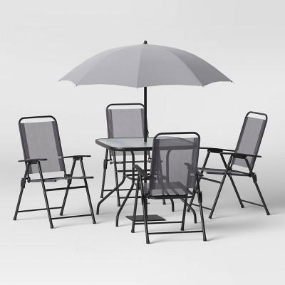 6pc Folding Patio Dining Set - Gray - Room Essentials™