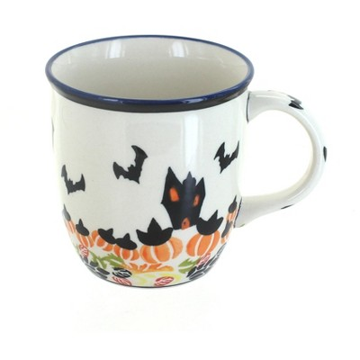 Blue Rose Polish Pottery Haunted House Coffee Mug