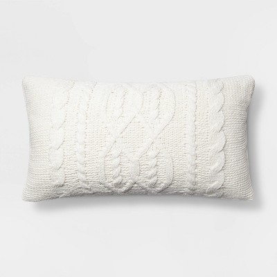 Cable Knit Chenille Oversize Lumbar Pillow Cream - Threshold™