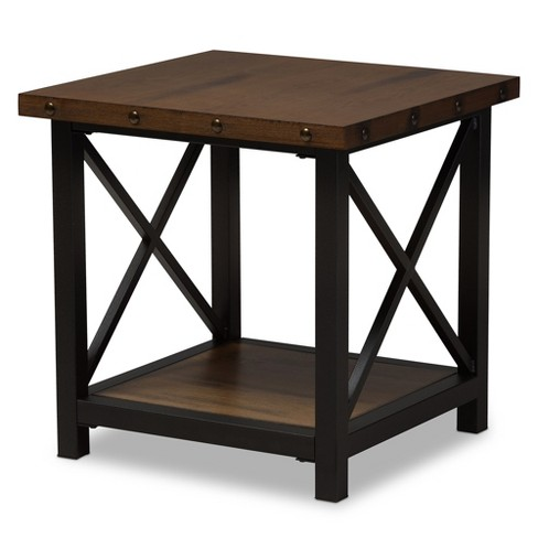 Herzen Rustic Style Antique Textured Finished Metal Distressed Wood Occasional End Table Black Baxton Studio