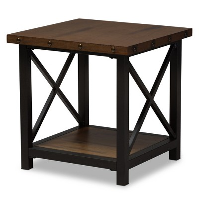 Herzen Rustic Industrial Style Antique Textured Finished Metal Distressed  Wood Occasional End Table   Black   Baxton Studio : Target