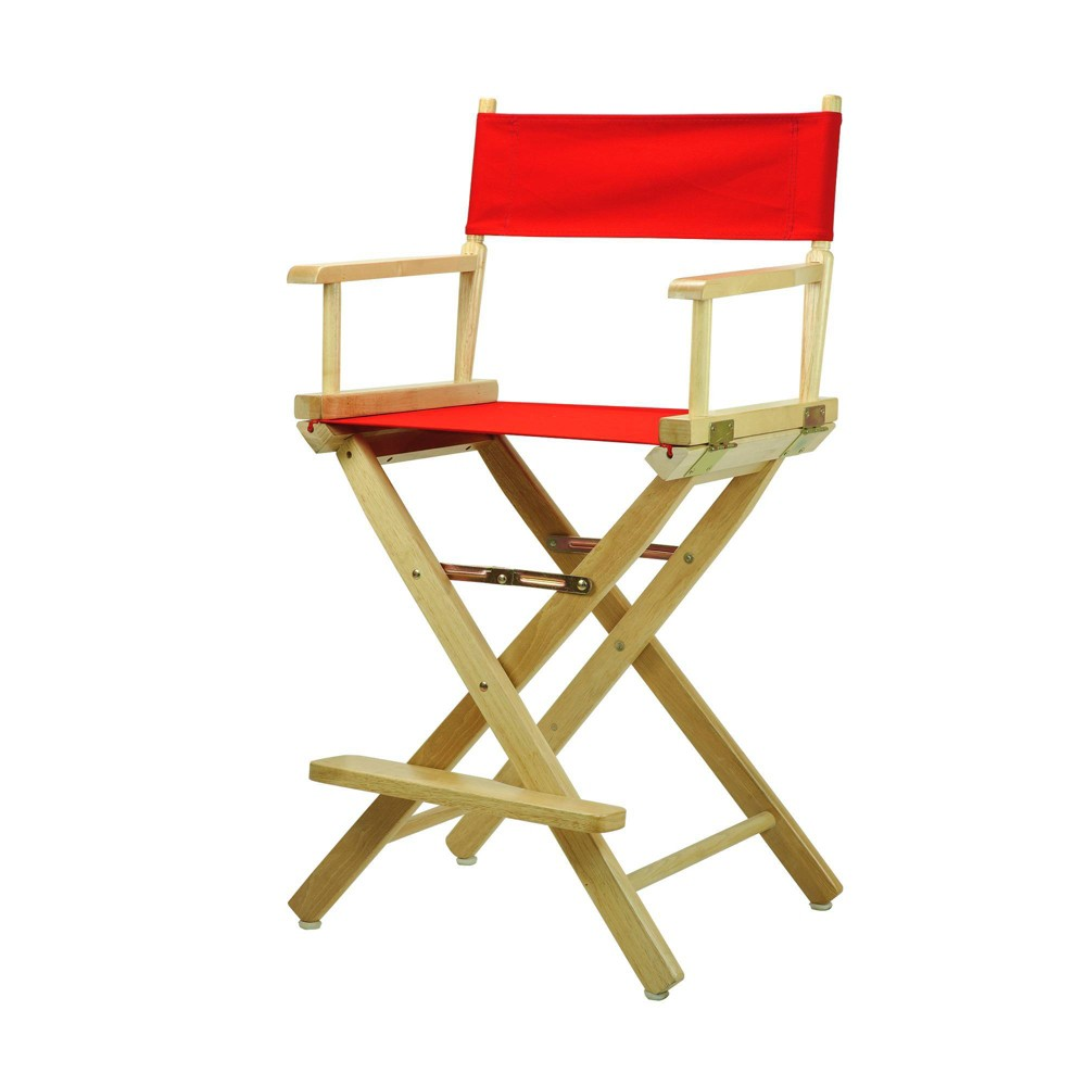 Director S Chair Counter Height Canvas Red Natural Flora Homes