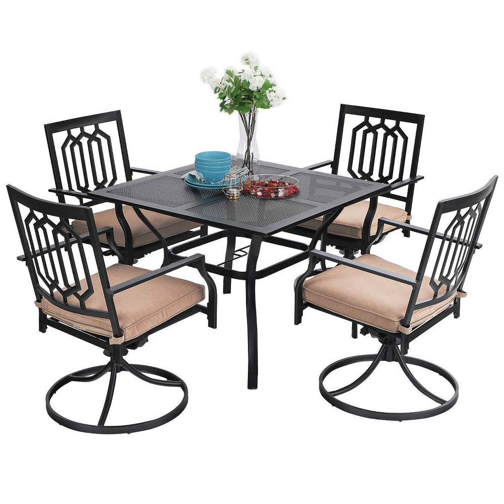 5pc Patio Set With Swivel Chairs 38 Square Metal Table Captiva Designs