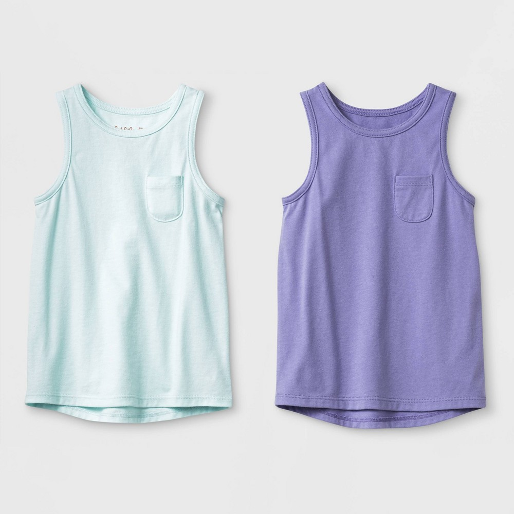 Toddler Girls' 2pk Wintex solid Tank Top Set - Cat & Jack Aqua/Violet 4T, Purple