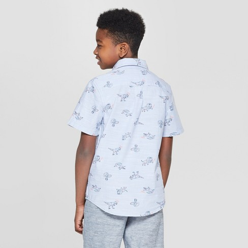 2f5a482f67f2c Boys  Animal Print Short Sleeve Button-Down Shirt - Cat   Jack™ Blue ...