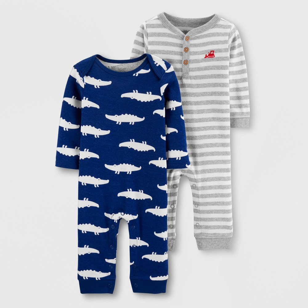 Baby Boys' 2pk Jumpsuits - Just One You made by carter's Navy/Gray 9M, Blue